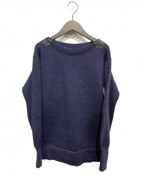 Drawer(ドゥロワー)Drawer (ドゥロワー) レザー切替アルパカ混ニット ネイビー サイズ:1の古着・服飾アイテム