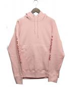A BATHING APE(アベイシングエイプ)の古着「スリーブロゴプルオーバーパーカ」|ピンク