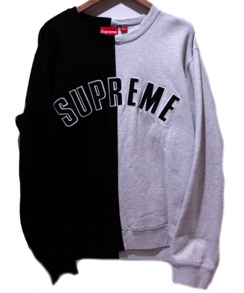 Supreme(シュプリーム)Supreme (シュプリーム) Split Crewneck Sweatshirt ブラック×グレー サイズ:M 18AWの古着・服飾アイテム