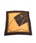 CHANEL(シャネル)の古着「マトラッセデザインシルクスカーフ」 ブラック