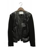 MAX&Co.(マックスアンドコ)の古着「レザー切替ジャケット」|ブラック