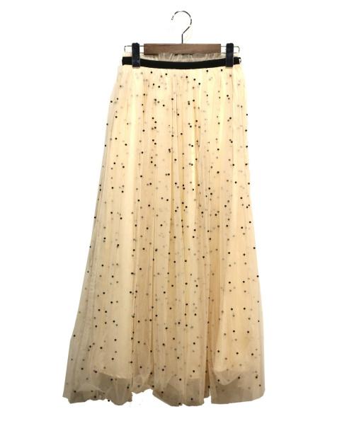 eimy istoire(エイミー イストワール)eimy istoire (エイミー イストワール) パールチュールドットフレアスカート アイボリー サイズ:Sの古着・服飾アイテム