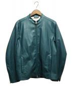 INHERIT(インヘリット)の古着「レザーライダースジャケット」 グリーン