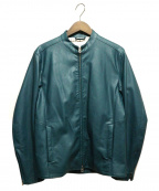 INHERIT(インヘリット)の古着「レザーライダースジャケット」|グリーン