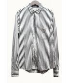 AMI Alexandre Mattiussi(アミ アレクサンドル マテュッシ)の古着「ストライプサマーフィットシャツ」|ブラック×ホワイト