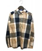 BLUE LABEL CRESTBRIDGE(ブルーレーベルクレストブリッジ)の古着「チェックシャツ」|ネイビー×ベージュ