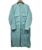 firmum(フィルマム)の古着「ラフコットンシーチングロングシャツワンピ」|マラカイトグリーン
