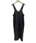 fog linen work(フォグリネンワーク)の古着「リネンノースリーブワンピース」|ブラック