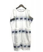 mina perhonen(ミナペルホネン)の古着「刺繍サックワンピース」 ホワイト