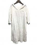 bisque by nest Robe(ビスキュウバイネストローブ)の古着「セーラーカラーリネンワンピース」 ホワイト