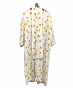 marimekko(マリメッコ)の古着「ドット柄ブラウスワンピース」|ホワイト×オレンジ