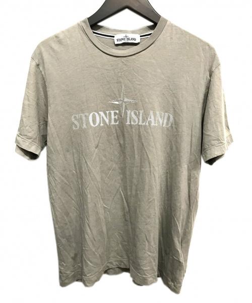 STONE ISLAND(ストーンアイランド)STONE ISLAND (ストーンアイランド) ロゴTシャツ ベージュ サイズ:Mの古着・服飾アイテム