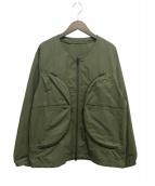 DESCENTE(デサント)の古着「ノーカラーナイロンジャケット」|オリーブ