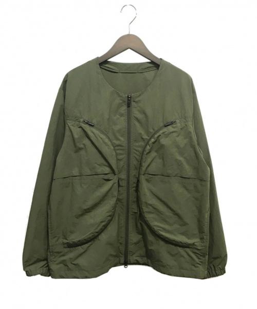 DESCENTE(デサント)DESCENTE (デサント) ノーカラーナイロンジャケット オリーブ サイズ:0の古着・服飾アイテム
