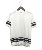 TOMORROW LAND(トゥモローランド)の古着「ヘムストライプニットTシャツ」|ホワイト