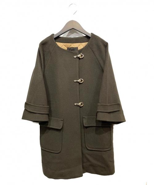 Droite Lautreamont(ドロワットロートレアモン)Droite Lautreamont (ドロワットロートレアモン) ノーカラーコート ブラウン サイズ:2 冬物の古着・服飾アイテム