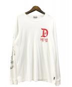 DIESEL(ディーゼル)の古着「ローズプリントロングスリーブカットソー」|ホワイト