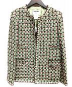 CHANEL(シャネル)の古着「フラワーツイードジャケット」 ライトグリーン