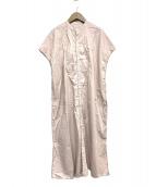 UNIVERSAL TISSU(ユニバーサルティシュ)の古着「タイプライターバンドカラーシャツドレス」|ピンク