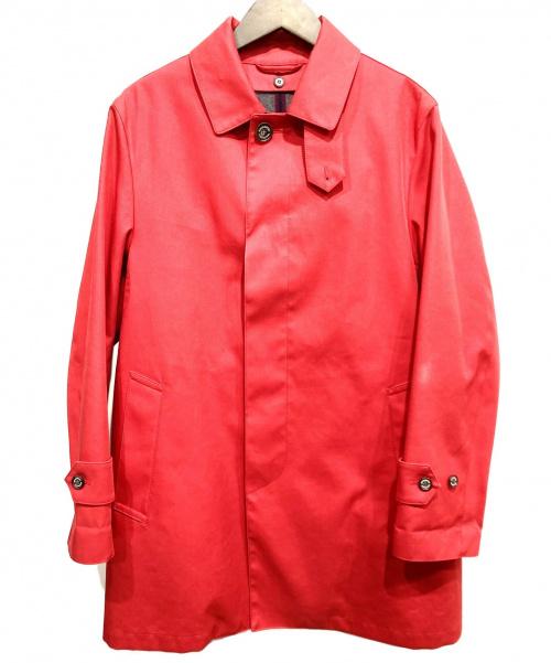 MACKINTOSH PHILOSOPHY(マッキントッシュフィロソフィー)MACKINTOSH PHILOSOPHY (マッキントッシュフィロソフィー) チェックライナーボンディングステンカラーコート レッド サイズ:38の古着・服飾アイテム