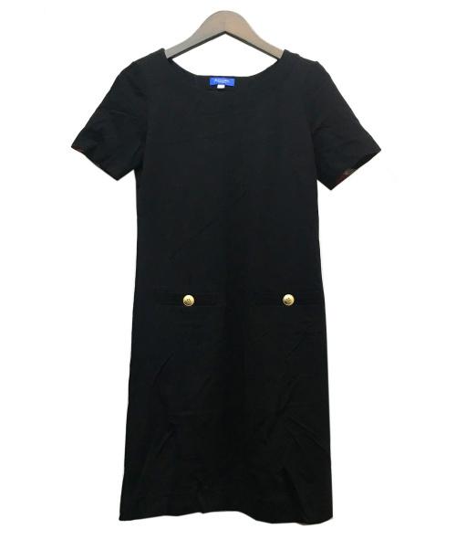 BLACK LABEL CRESTBRIDGE(ブラックレーベル・クレストブリッジ)BLACK LABEL CRESTBRIDGE (ブラックレーベル・クレストブリッジ) ビスコースポンチワンピース ブラック サイズ:36の古着・服飾アイテム