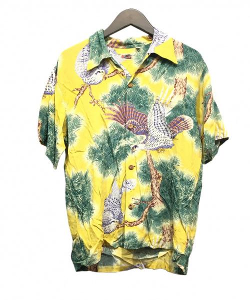 Sun Surf(サンサーフ)Sun Surf (サンサーフ) 縮緬レーヨンアロハシャツ イエロー サイズ:L 16-16 ¹/₂の古着・服飾アイテム