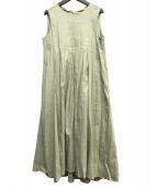 Mila Owen(ミラオーウェン)の古着「リネン混ノースリーブワンピース」|ライトグリーン