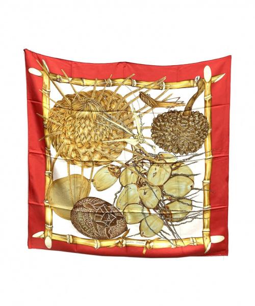 HERMES(エルメス)HERMES (エルメス) シルクスカーフ レッド Jardin Creole(クレオルの楽園)の古着・服飾アイテム