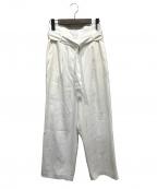 CINOH(チノ)の古着「ベルテッドワイドパンツ」|ホワイト