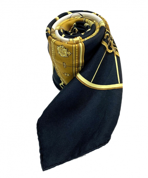 HERMES(エルメス)HERMES (エルメス) シルクスカーフ ゴールド×ブラック SPRINGSの古着・服飾アイテム