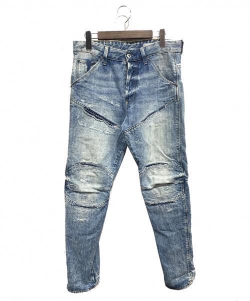 G-STAR RAW(ジースターロゥ)G-STAR RAW (ジースターロゥ) リペア加工デニムパンツ ライトインディゴ サイズ:W29L30の古着・服飾アイテム