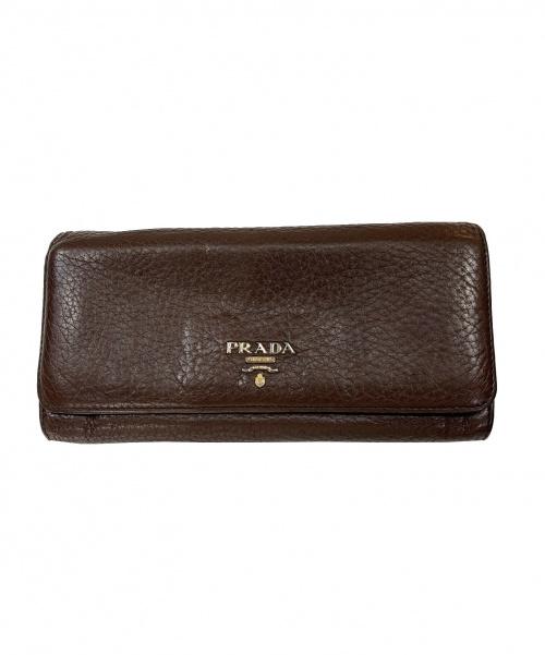 PRADA(プラダ)PRADA (プラダ) フラップロングウォレット ブラウンの古着・服飾アイテム