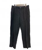 ISSEY MIYAKE WHITE LABEL(イッセイミヤケホワイトレーベル)の古着「ウールリネンタックワイドパンツ」 ブラック