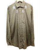 GIVENCHY(ジバンシィ)の古着「STAR PRINT CHECK SHIRT」|オリーブ