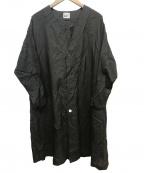 FRAPBOIS(フラボア)の古着「ノーカラーナイロンガウンコート」 ブラック