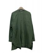 COMOLI(コモリ)の古着「バンドカラーロングシャツ」|オリーブ