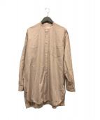 COMOLI(コモリ)の古着「バンドカラーロングシャツ」|ピンク