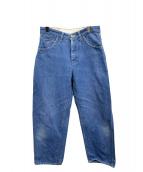 mina perhonen(ミナペルホネン)の古着「コットンリネンテーパードデニムパンツ」|ライトインディゴ