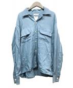 ()の古着「ワイドフラップポケットシャツ」 ブルー