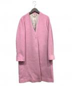 ROPE mademoiselle(ロペマドモアゼル)の古着「ノーカラーコート」 ピンク