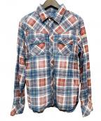TMT(ティーエムティー)の古着「INDIGO CHECK PRINT SHIRT」|ブルー×レッド
