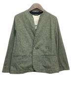 PALLAS PALACE(パラスパレス)の古着「インディゴ千鳥柄ボトル衿ジャケット」|グリーン