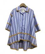 WHITE MOUNTAINEERING(ホワイトマウンテ二アニング)の古着「PIPING OPEN COLLAR SHIRT」|ネイビー