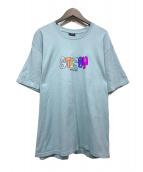 stussy(ステューシー)の古着「プリントTシャツ」 スカイブルー