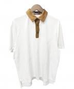 CABAN(キャバン)の古着「コットン ポロTシャツ」 ホワイト×ブラウン