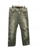 D&G(ドルチェ&ガッバーナ)の古着「ダメージ加工デニムパンツ」|グレー