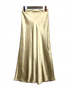Demi-Luxe Beams()の古着「サテンフレアロングスカート」 ゴールド