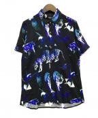 MORGAN HOMME(モルガンオム)の古着「総柄シャツ」|ブラック×パープル