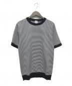 EDIFICE(エディフィス)の古着「ウォッシャブルサマーニットTシャツ」 ホワイト×ネイビー