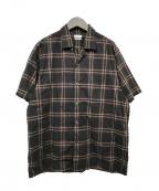 STEVEN ALAN(スティーブンアラン)の古着「POPLIN NARD CHECK OPEN COLLAR」|パープル×ブラック